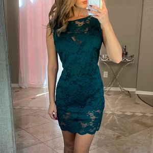 Bebe Green Lace Floral Scalloped Overlay Dress M